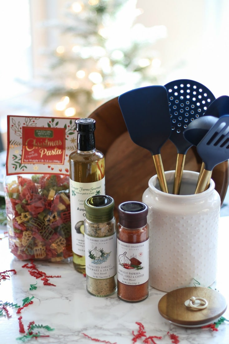 everything you need to give the perfect chef's gift basket this holiday season with essential cooking ingredients