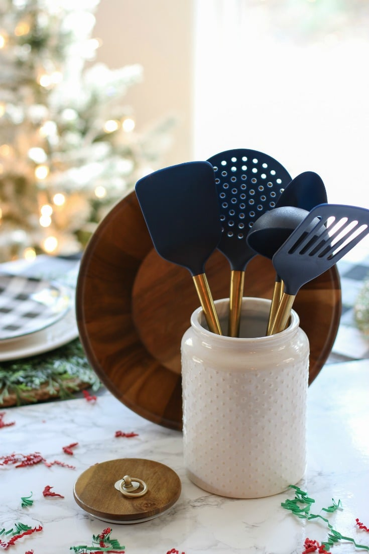 give the gift of cooking must-haves to the gourmet chefs in your life with trendy kitchen utensils and ceramic storage jar