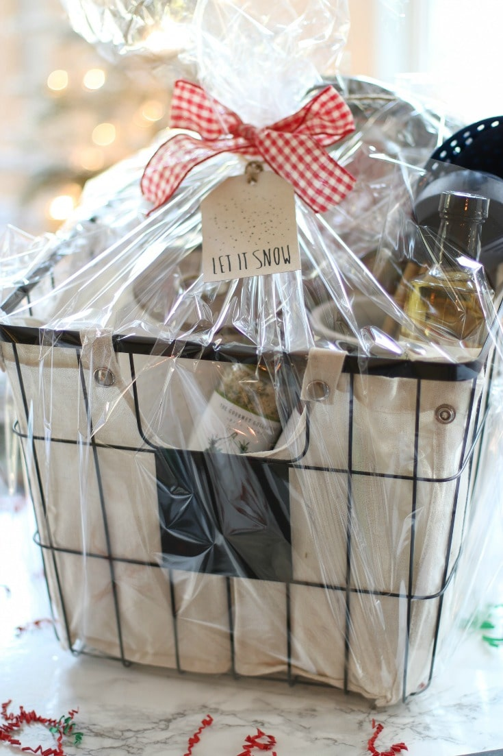 create a gourmet chef's gift basket for cooking lovers in your life with cute packaging