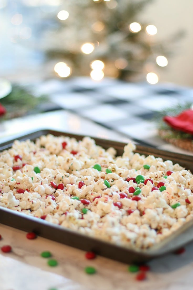 finished product of our delicious, homemade peppermint popcorn recipe for gifting this holiday season
