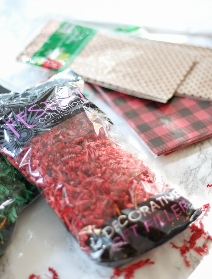 complete your gift baskets with red and green crinkle paper and festive tissue paper