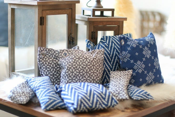 blue and white winter themed air purifying bags create a healthy home