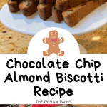 Cake stand piled with chocolate chip biscotti