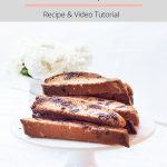 chocolate chip almond biscotti on a plate stand