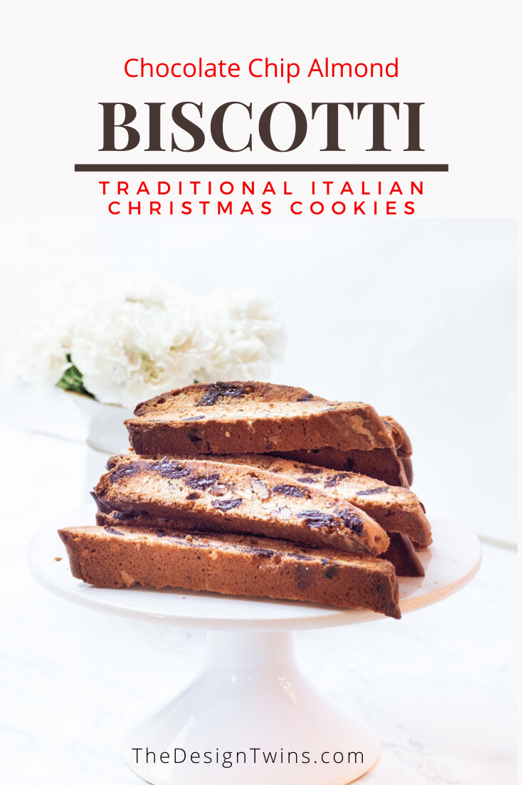 Chocolate Chip Almond Biscotti Traditional Italian Christmas cookies recipe The Design Twins pin