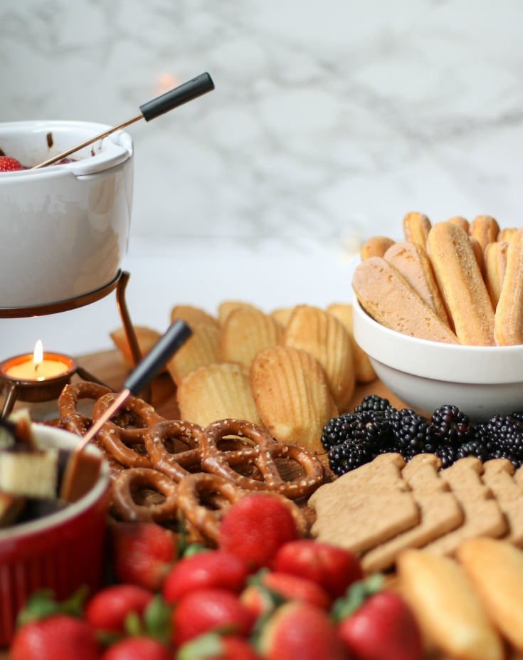 dessert chocolate fondue charcuterie boards are great for all your entertaining needs