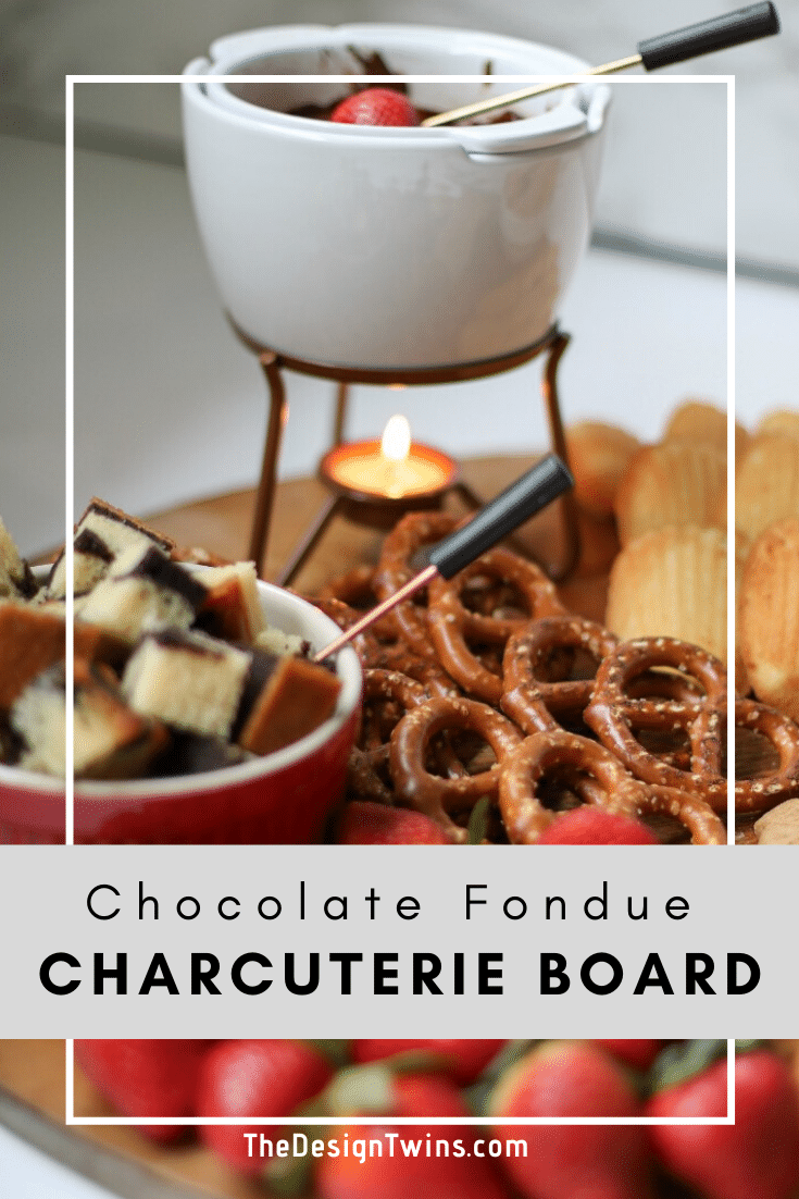 chocolate fondue charcuterie board with sweet and savory dipping options