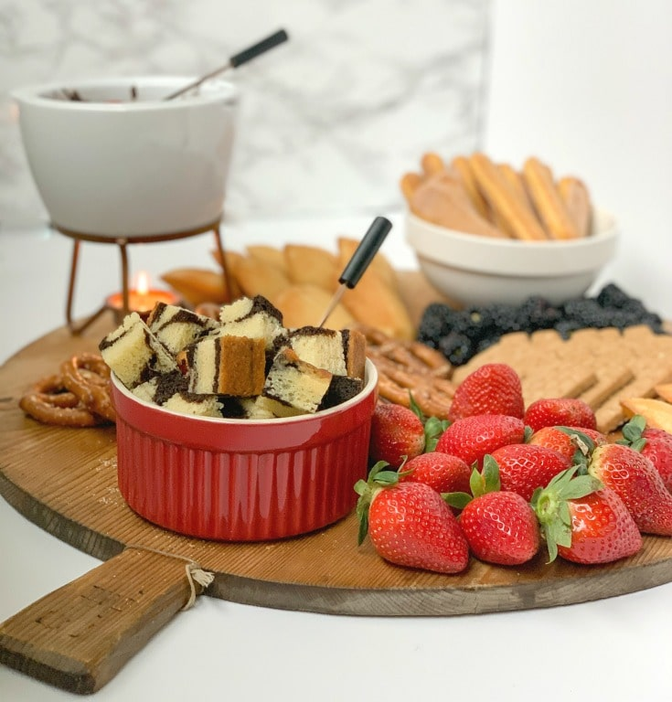 gorgeous chocolate fondue charcuterie board perfect for all your entertaining needs