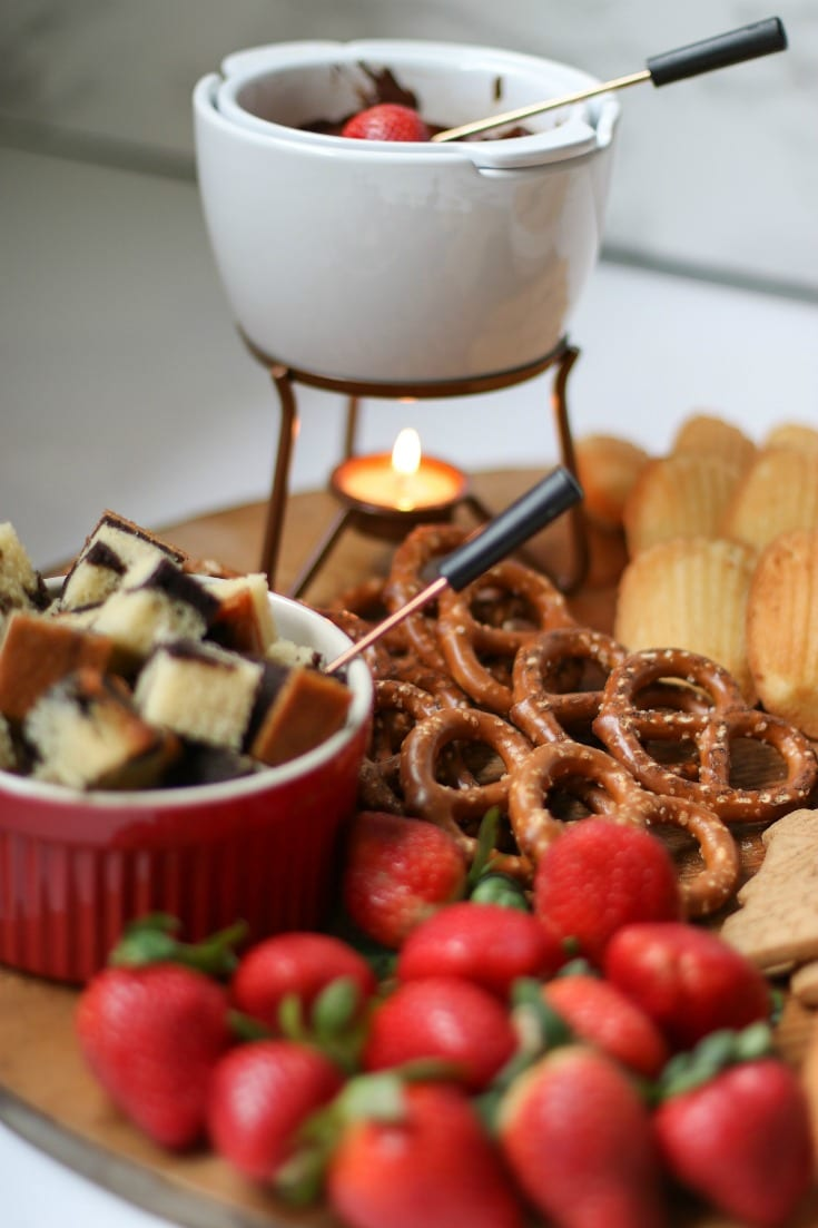 this chocolate fondue charcuterie board is what your parties need this year