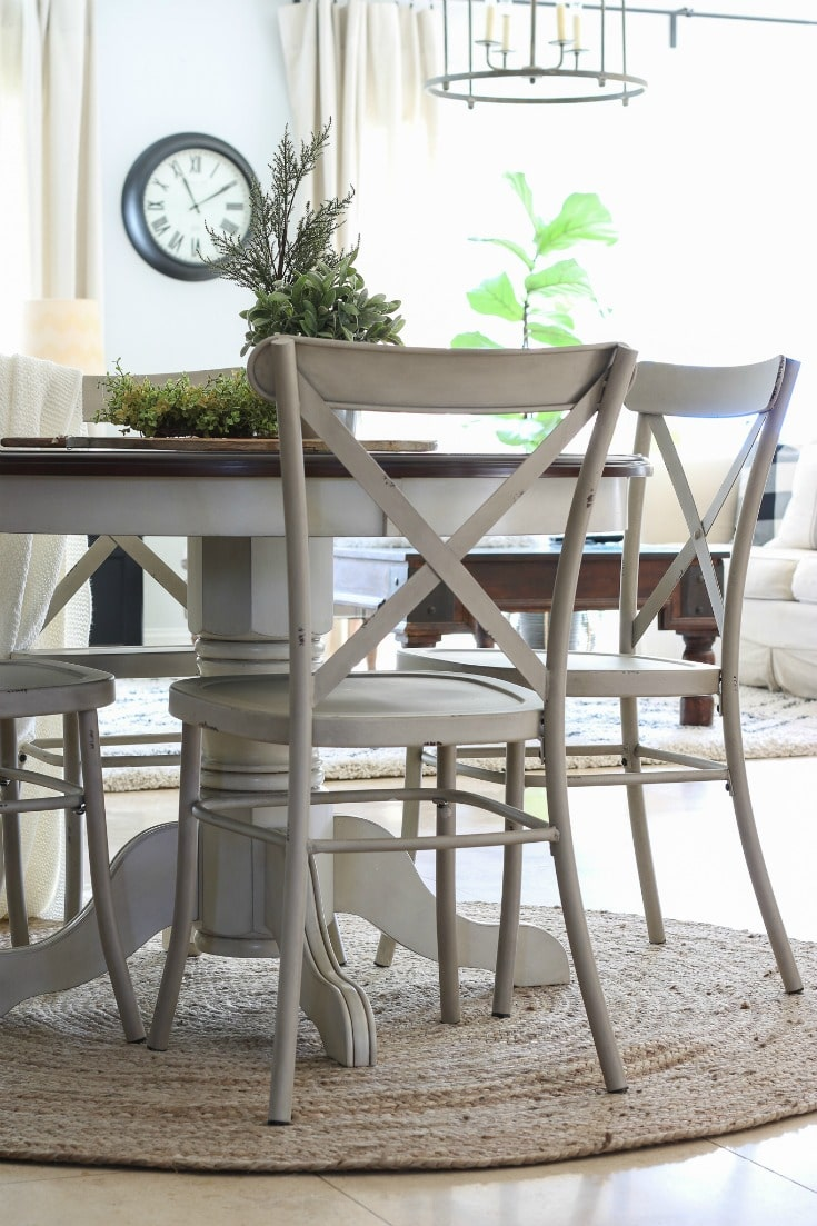 close up of gorgeous wood & cream farmhouse table and chairs from BHG at Walmart