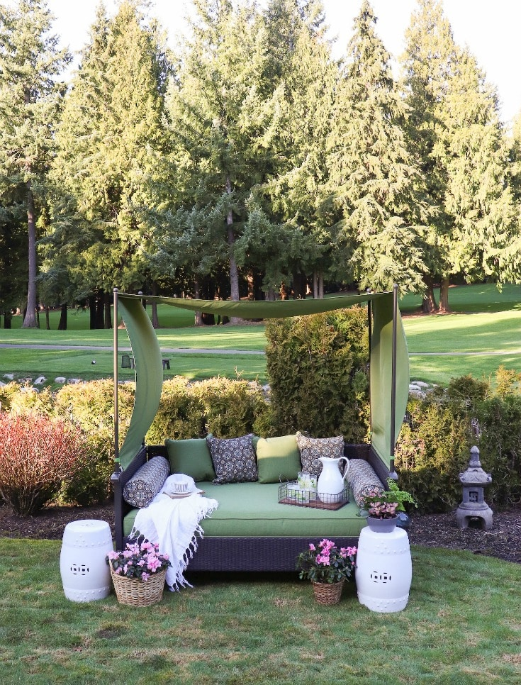 green daybed from BHG at Walmart for luxurious backyard destinations
