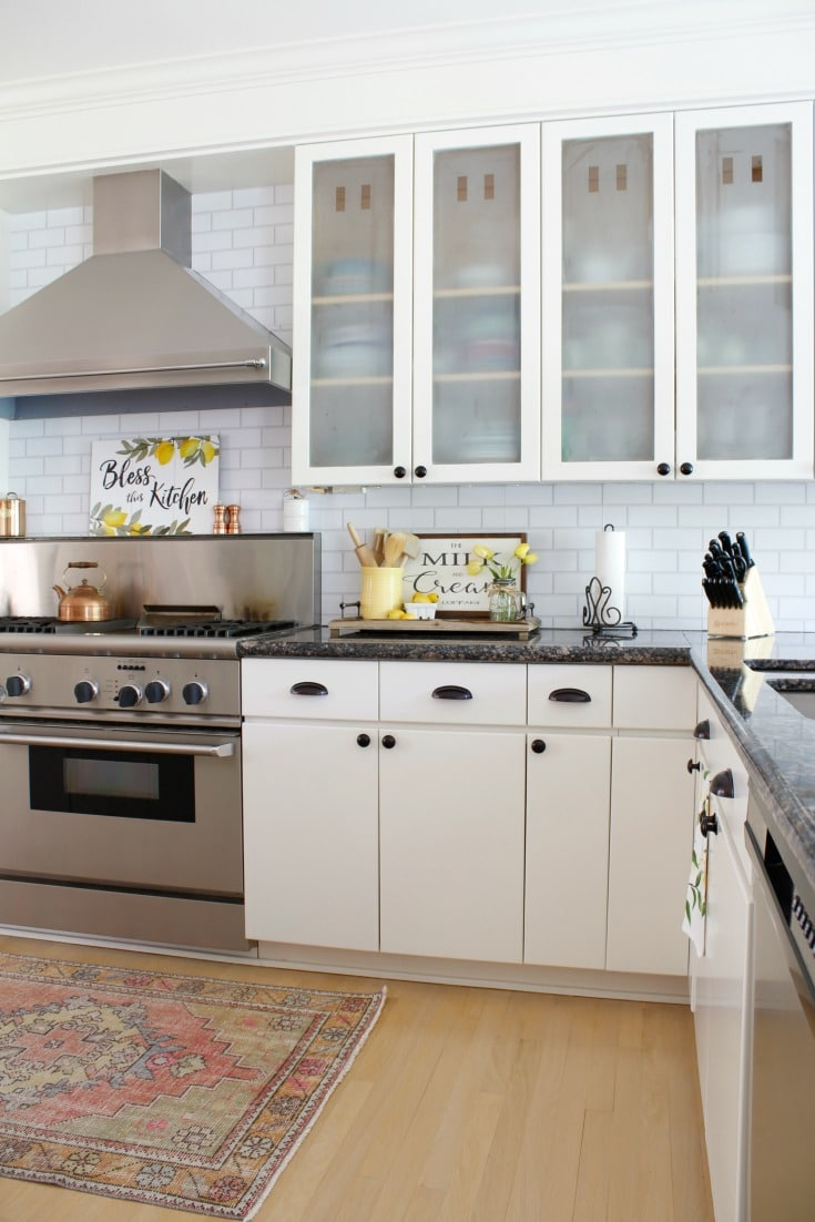 peel and stick subway tile backsplash in farmhouse kitchen