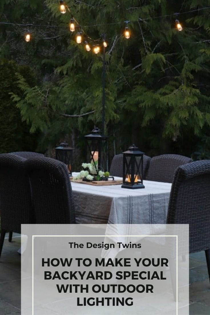 backyard lighting creates festive ambiance for outdoor dining