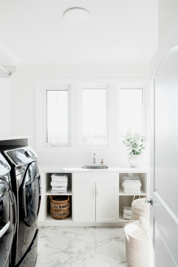 clean white laundry room