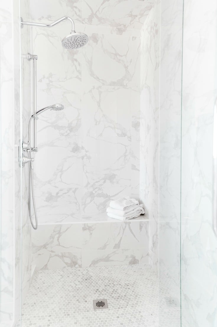 cleaning hacks to clean your shower or sink drain, white marble shower