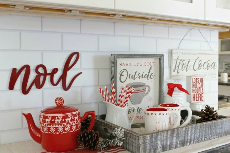 subway tile backplash with christmas decor