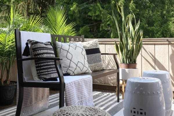 Budget small patio space makeover with modern farmhouse furniture and decor