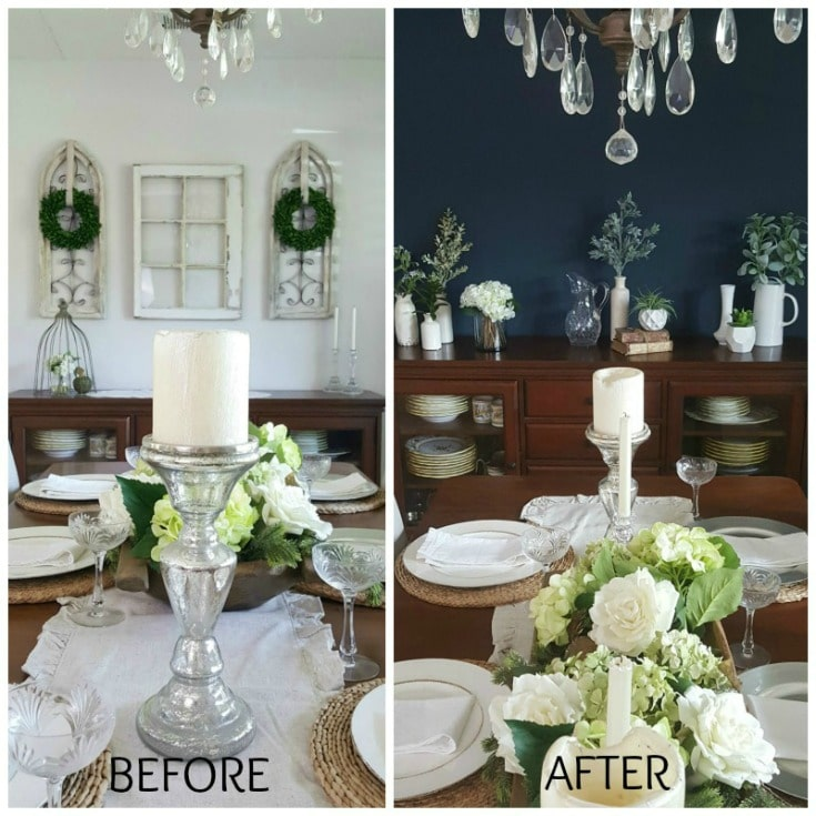 before and after dining room paint transformation