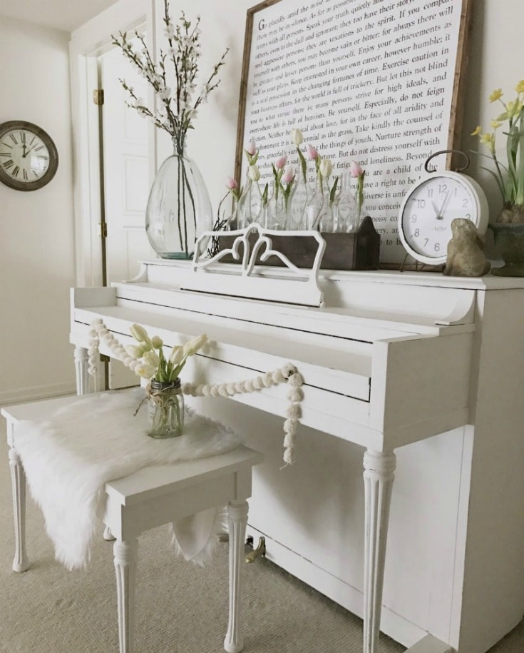 chalk painted piano DIY painting transformation