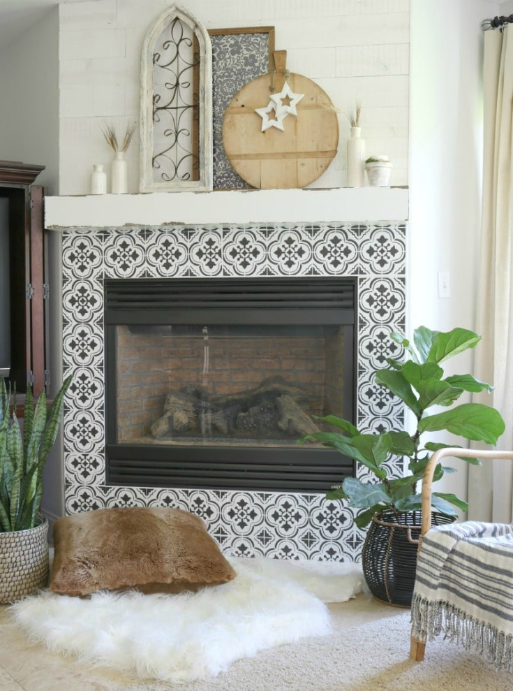 stencil tile fireplace DIY painting