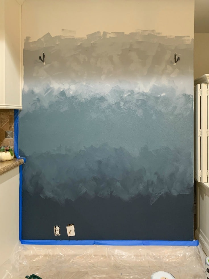 ombre wall art in process