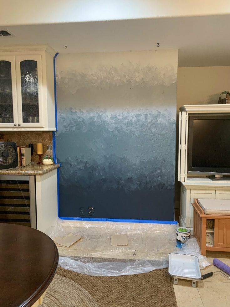 unfinished ombre paint wall