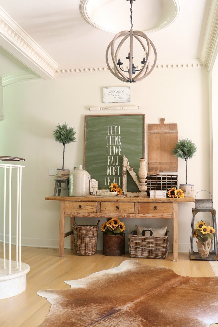 fall entryway decor on a budget