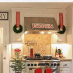 white holiday kitchen with christmas wreaths