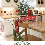 festive farmhouse kitchen with cabinet wreaths