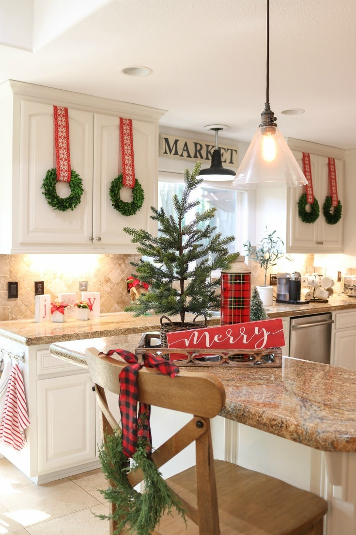 how to hang wreaths on kitchen cabinets easily