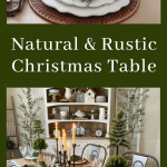 dark green christmas dining table with natural elements