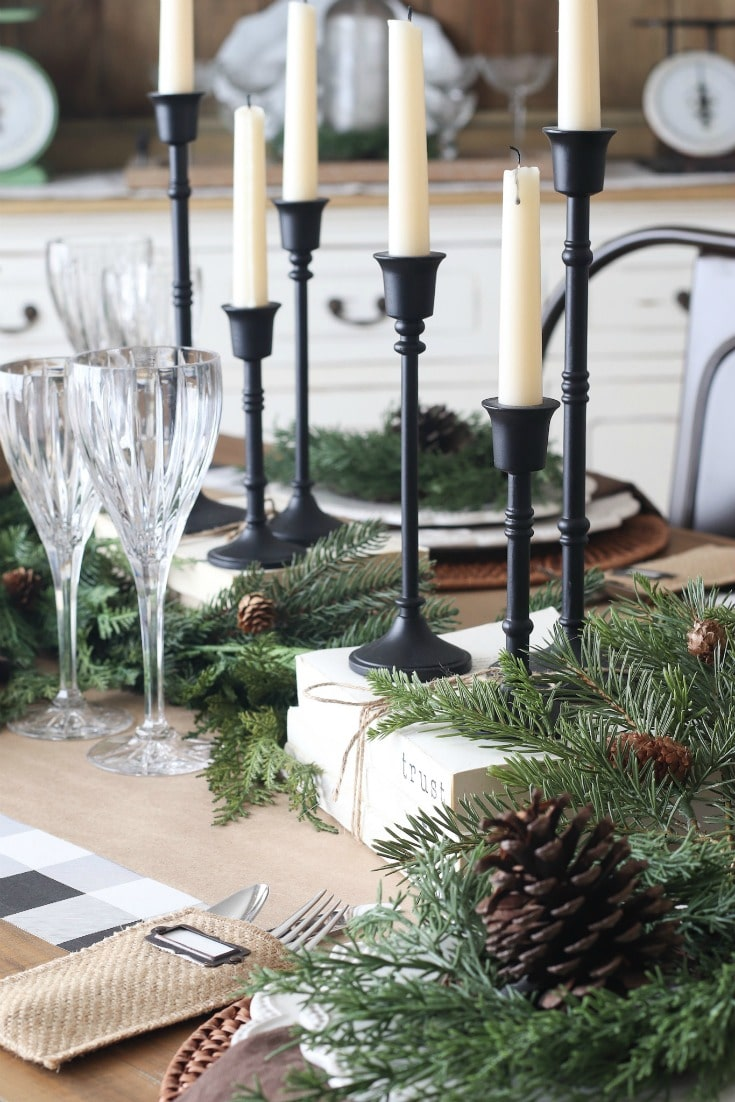 farmhouse Christmas table centerpiece