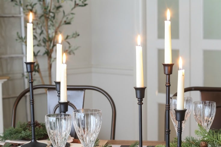 Christmas table with candlesticks