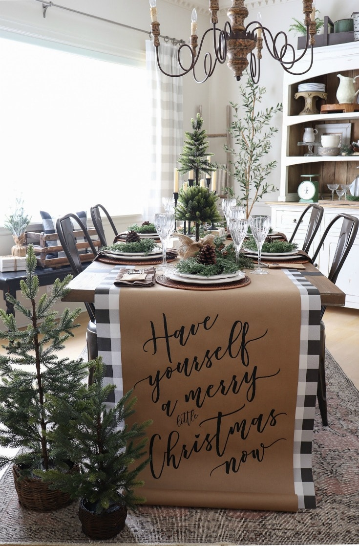 natural farmhouse Christmas tablescape