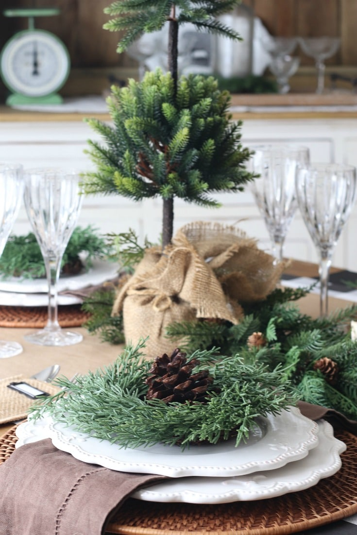 Natural evergreen burlap and crystal create elegant versatile holiday table