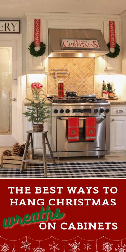 Beautiful stainless stove and vent hood decorated for Christmas with red towels and wreaths hung on the kitchen cabinets