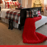 christmas bedroom decor with red blanket