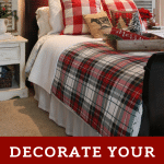plaid bedding and pillows for Christmas bedroom