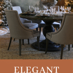 elegant dining table with chairs and forest mural
