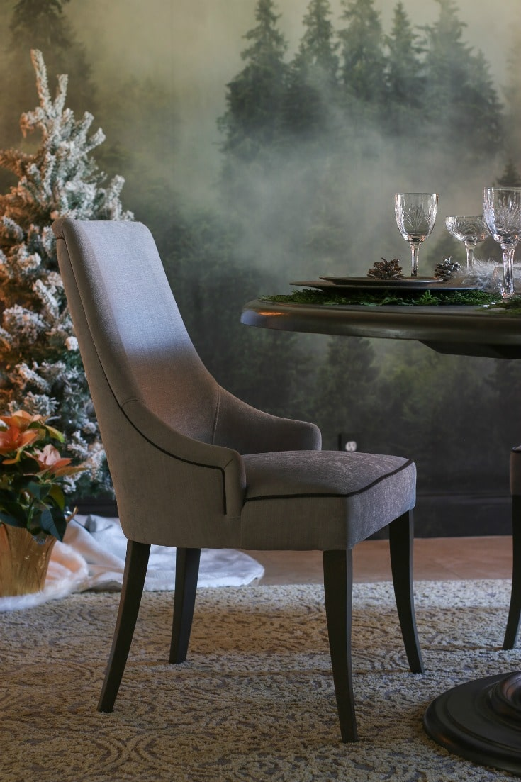 comfortable and elegant dining room seating in luxurious soft velvet upholstered grey
