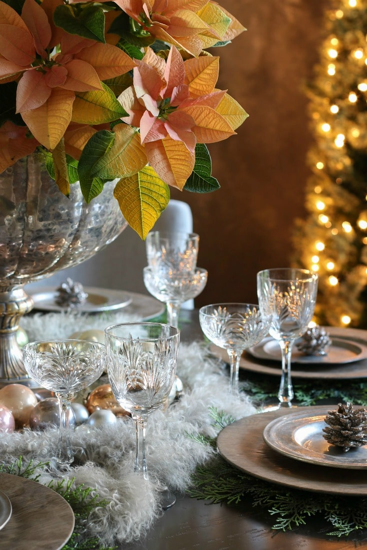 elegant glassware and plate settings