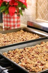 Crisp granola mixed with nuts and cranberries makes the best Christmas gift