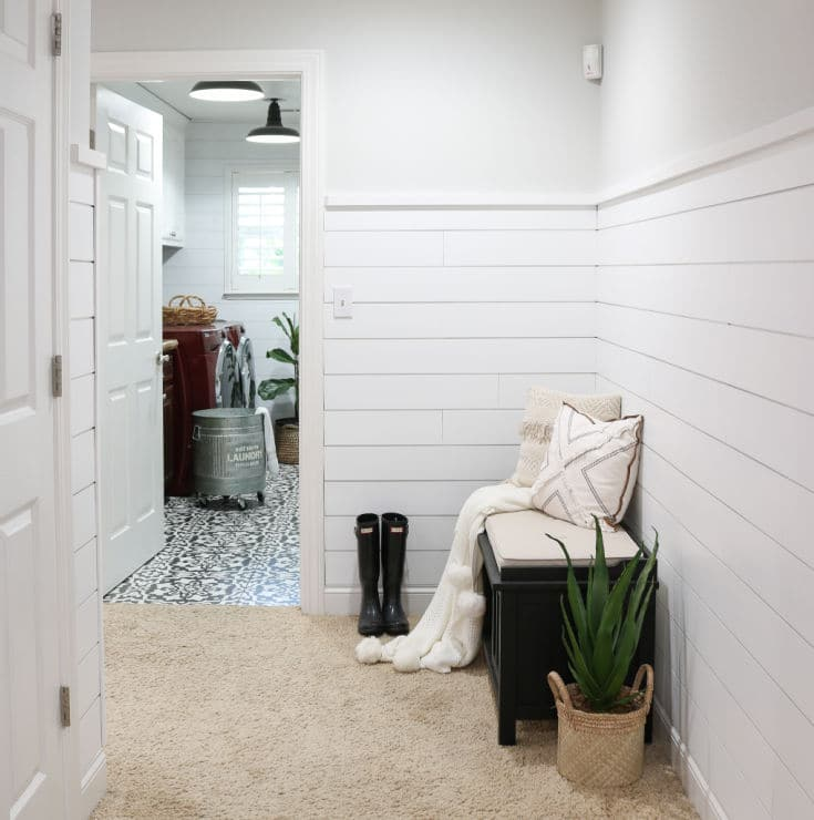 white shiplap wall transformation entryway