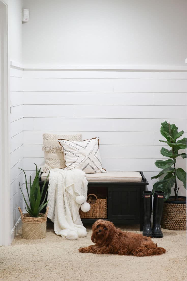 shiplap walls with bench, blankets and pillows with plants surrounding