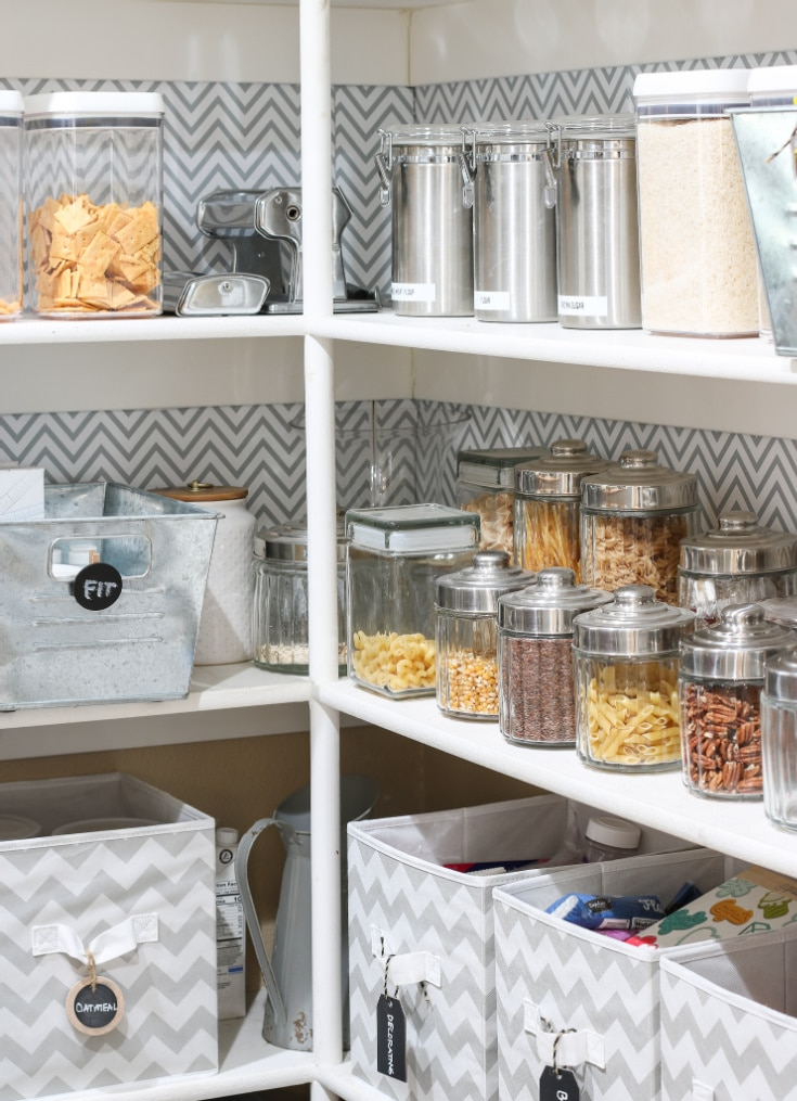 organized kitchen pantry shelves with see through food containers