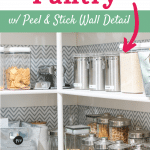 organized pantry with peel and stick wallpaper