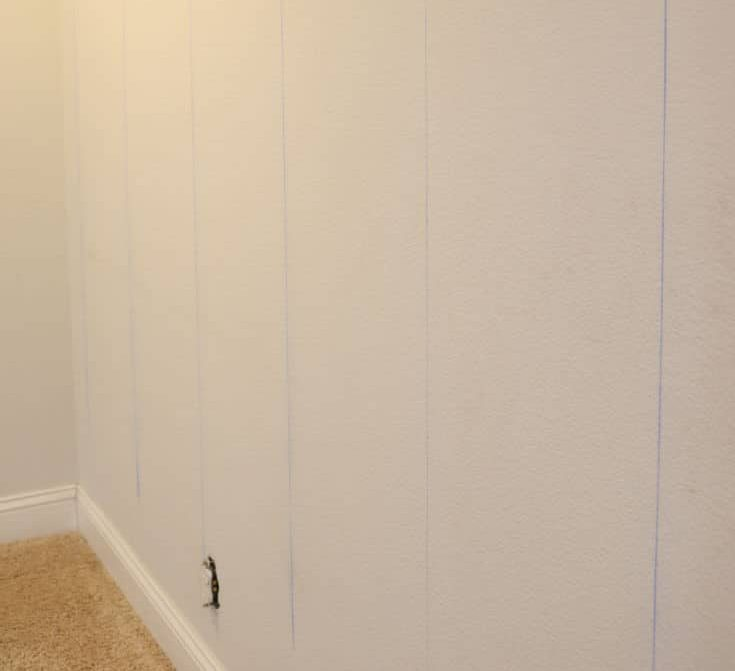 shiplap walls with stud marks