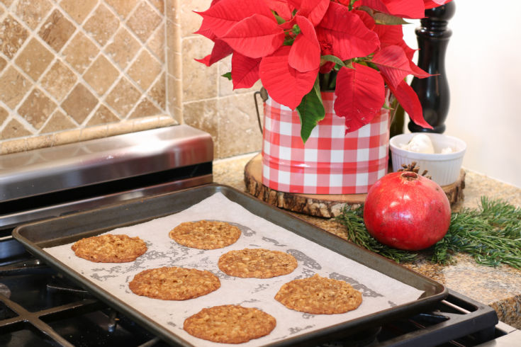 homemade oatmeal lace cookies fresh out of the oven