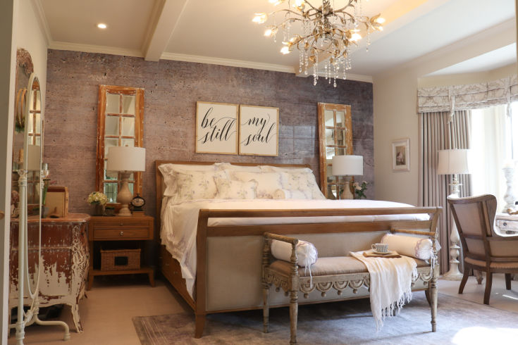 beautiful sleigh bed with bench