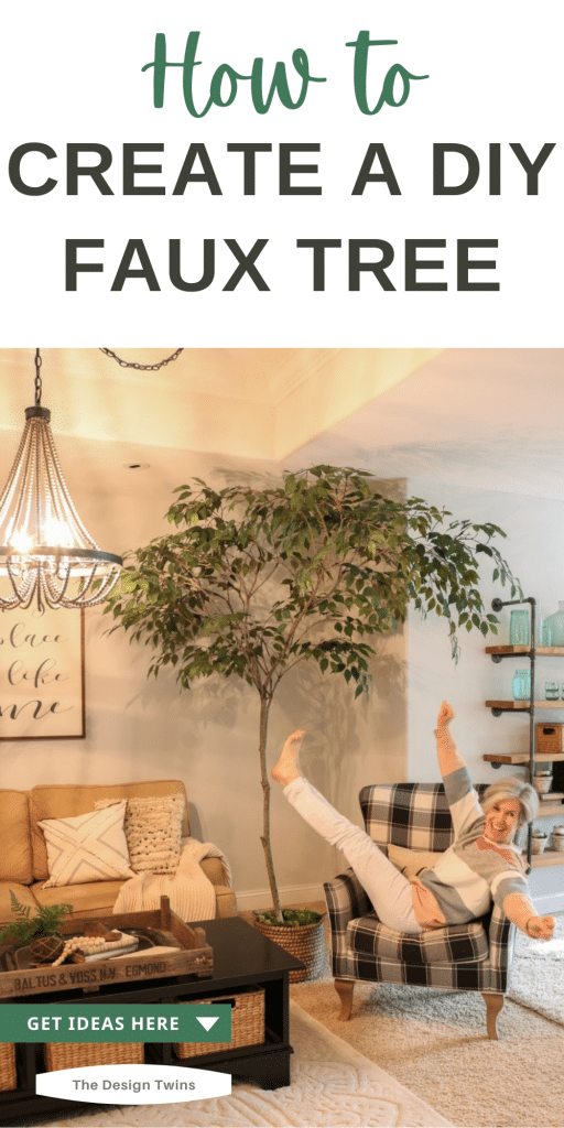 Realistic faux tree made with real branch and silk leaves attached with floral tape
